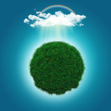 3D render of a grassy globe with a rainbow and raincloud Stock Photos