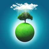 3D render of a grassy globe with a tree Stock Photos