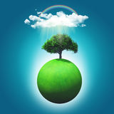 3D render of a grassy globe with a tree, rainbow and raincloud Royalty Free Stock Photography