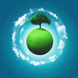 3D render of a grassy globe with a tree Stock Images