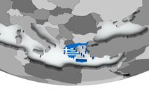 Greece with flag on globe Royalty Free Stock Photo