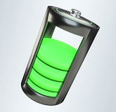 3D render green battery. On white background Royalty Free Stock Photo
