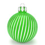 3d render - green christmas bauble over white background. 3d render of green christmas bauble with pattern over white background - merry christmas concept Stock Images