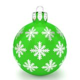 3d render - green christmas bauble over white background. 3d render of green christmas bauble with pattern over white background - merry christmas concept Stock Photography