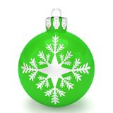 3d render - green christmas bauble over white background. 3d render of green christmas bauble with pattern over white background - merry christmas concept Royalty Free Stock Photo