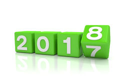 3d render - new year 2018 concept - cubes - green Royalty Free Stock Photo