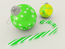 3D render of Green and gold holiday decoration baubles with candy cane Stock Image
