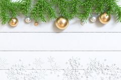 3d render green leaf tree christmas tree with gold ball white wood floor royalty free stock photo