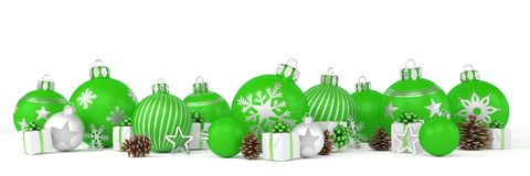 3d render - green and silver christmas baubles over white backgr Stock Photo