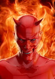 The devil. 3D render of grinning red devil and hellfire Stock Photo