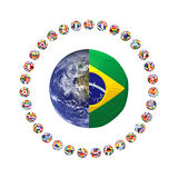 3D render of group of football. On white background royalty free illustration