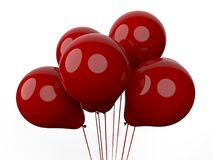 3D render - group of red balloons. 3D render of a group of red balloons. The composition is isolated on a white background with no shadows royalty free illustration