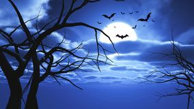 3D Halloween landscape with bats and tree silhouettes. 3D render of a Halloween landscape with bats and tree silhouettes Stock Illustration