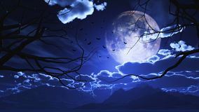 3D Halloween landscape with trees against a moonlit sky Stock Photography