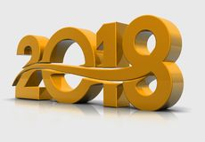 2018 3D render. Happy new year 2018 3d render Stock Photo