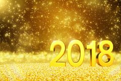3d render - happy new year 2018 - golden greeting card. 3d render of falling golden glittering snow over the numbers 2018. Sparkling golden snowflakes Stock Photo