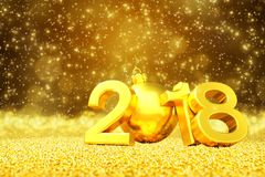 3d render - happy new year 2018 - golden greeting card. 3d render of falling golden glittering snow over the numbers 2018. Sparkling golden snowflakes Stock Image