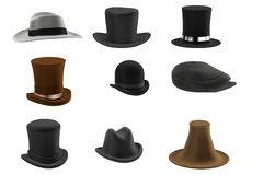 3d render of hat set Royalty Free Stock Photo