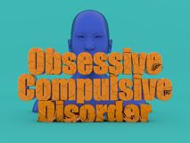 Head and obsessive compulsive disorder text. 3d render. Head and obsessive compulsive disorder text Stock Images