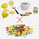 Healthy Tea vs Pills vector illustration