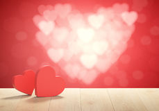 3D render of heart shape boxes. Background for Valentines Day Stock Image