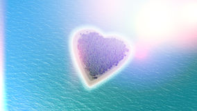 3D render of a heart shaped island with retro effect Stock Photography