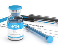 3d render of HGH vial with syringe on clipboard Stock Image