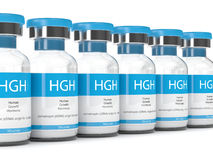 3d render of HGH vials over white Stock Photos