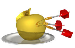 3d render - hit the target in the golden apple. Isolated on white background Stock Images