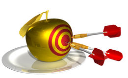 3d render - hit the target in the golden apple. Isolated on white background Stock Photography