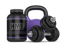 3d render of HMB container with kettlebell and dumbbells. Isolated over white background. Sport supplement concept Stock Images