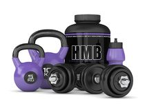 3d render of HMB container kettlebells and dumbbells. Isolated over white background. Sport supplement concept Stock Image