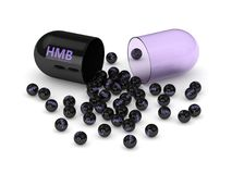 3d render of HMB pill with granules. Over white background. Sport supplement concept Royalty Free Stock Photography