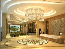 3d render of hotel corridor. 3d render of hotel floor corridor royalty free illustration