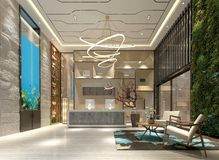 3d render of hotel lobby. 3d render of hotel entrance lobby royalty free illustration