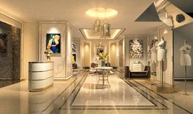 3d render of hotel lobby. 3d render of hotel entrance lobby royalty free illustration