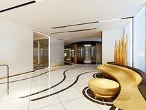 3d render of hotel lobby interior. 3d render of modern luxury hotel interior vector illustration