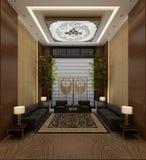 3d render of hotel lobby interior. 3d render of modern luxury hotel interior royalty free illustration