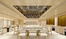 3d render of hotel restaurant dinner room. 3d render of luxury hotel restaurant dinner room Stock Photos