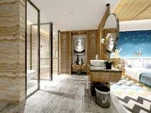 3d render of hotel room. With bathroom vector illustration