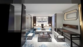 3d render of hotel room. 3d render of modern luxury hotel room royalty free illustration