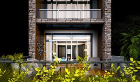 3d render of house balcony view at night. Building exterior Royalty Free Stock Photo
