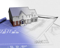 3D render of house on blueprints with half in sketch phase. 3D render of a house on blueprints with half in sketch phase Stock Images