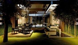 3D Render of house. Exterior with beautiful garden Stock Photos