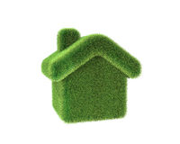 Green house. 3d render of a house made of grass. Ecologic concept Stock Images