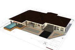 3D render of house Royalty Free Stock Photo