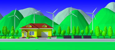 3d render of  house with wind power plants and solar panels Stock Photos
