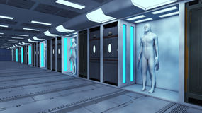 3d render. Human Clone. Manufacturing and Futuristic Room Stock Image