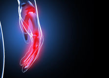 3d render Human hand and wrist pain Royalty Free Stock Photography