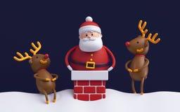 3d render, humorous Christmas scene, cartoon characters,   Royalty Free Stock Photos